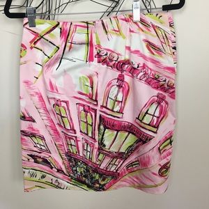Claude brown size 6 pink scenic mini skirt.
